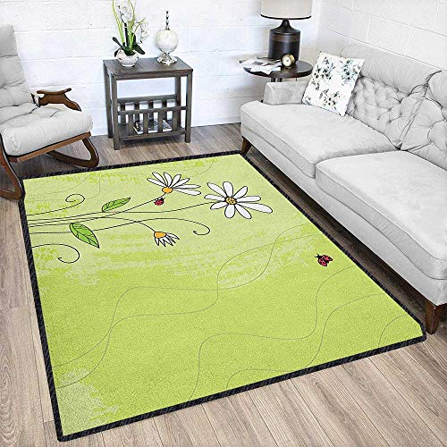 (Daisy Natural Fiber Area Rug,Hand Drawn Style Chamomile Flowers on Green Backdrop with Ladybugs and Grunge Look for Hard Floors Multicolor 67