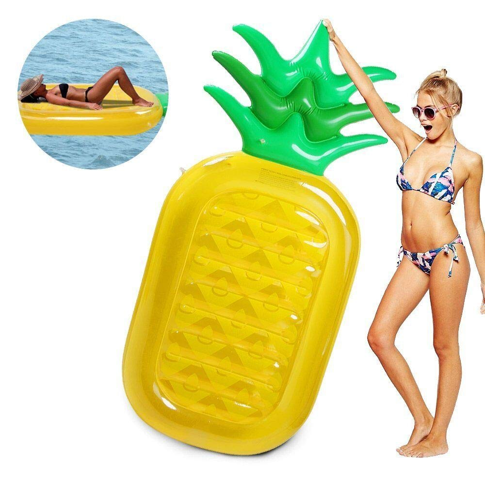 LetsFunny Pineapple Pool Floats Outdoor Swimming Pool Party Lounge Raft Decorations Toys Games Float with Rapid Valves for Adult and Kids (75')