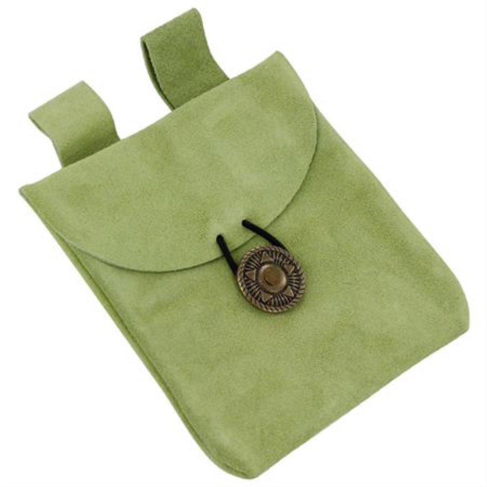 Sacred Herbs Small Medieval Renaissance Sage Suede Leather Belt Pouch