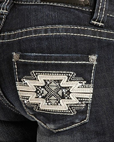 Rock & Roll Cowgirl Girls' and (7-14) Aztec Embroidered Jeans Boot Cut Indigo 12 by Rock and Roll Cowgirl (Image #3)