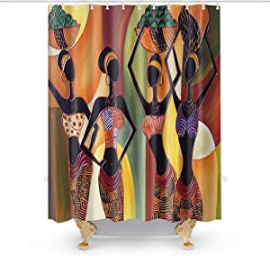 African Egyptian Aborigines Women Theme Fabric Shower Curtain Sets Bathroom Decor with Hooks Waterproof Washable 72 x 72 inches Brown