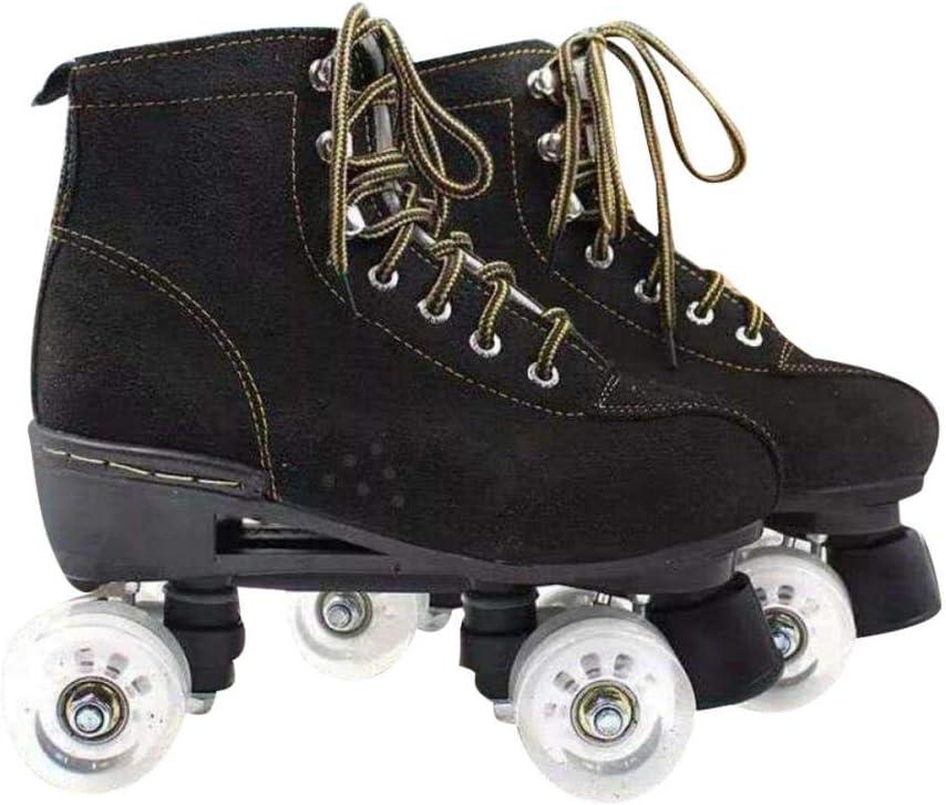 XUDREZ Cowhide Roller Skates for Women and Men High-Top Shoes Double-Row Design,Adjustable Classic Premium Roller Skates