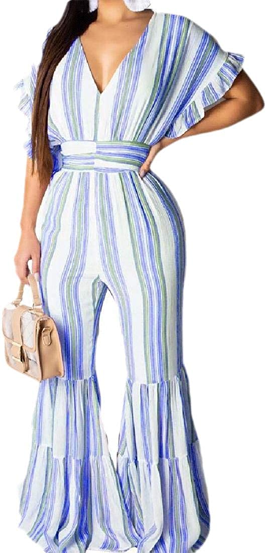 Beloved Women Bell Bottom V Neck Elastic Waist Flare Pants Jumpsuit Rompers