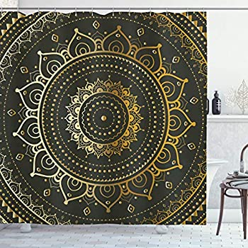 Ambesonne Mandala Shower Curtain by, Figure with Symbolic Art Illustration Print, Fabric Bathroom Decor Set with Hooks, 70 Inches, Gold Black Yellow