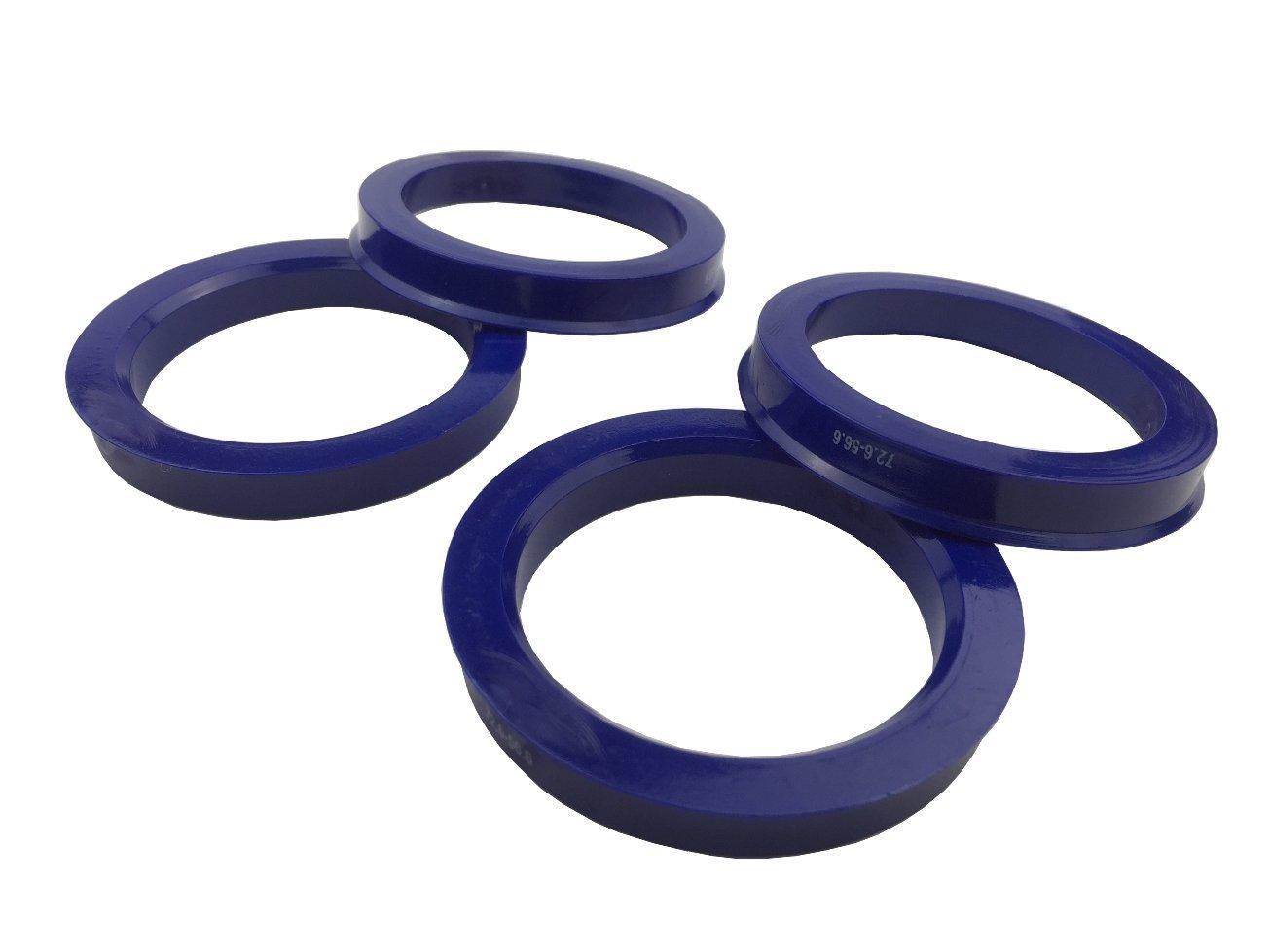 4 Pieces - Hub Centric Rings - 72.6mm OD to 56.6mm ID - Dark Blue Poly Carbon Hub Rings JianDa
