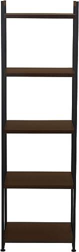 Household Essentials 5 Tier Storage Tower Shelf with Minimalist Metal Frame 59 H x 17.75 W x 13.75 D Dark Walnut, Brown