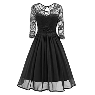 HOMEBABY Ladies 3/4 Sleeve Lace Evening Dresses, Women Vintage Lace Formal Patchwork Wedding
