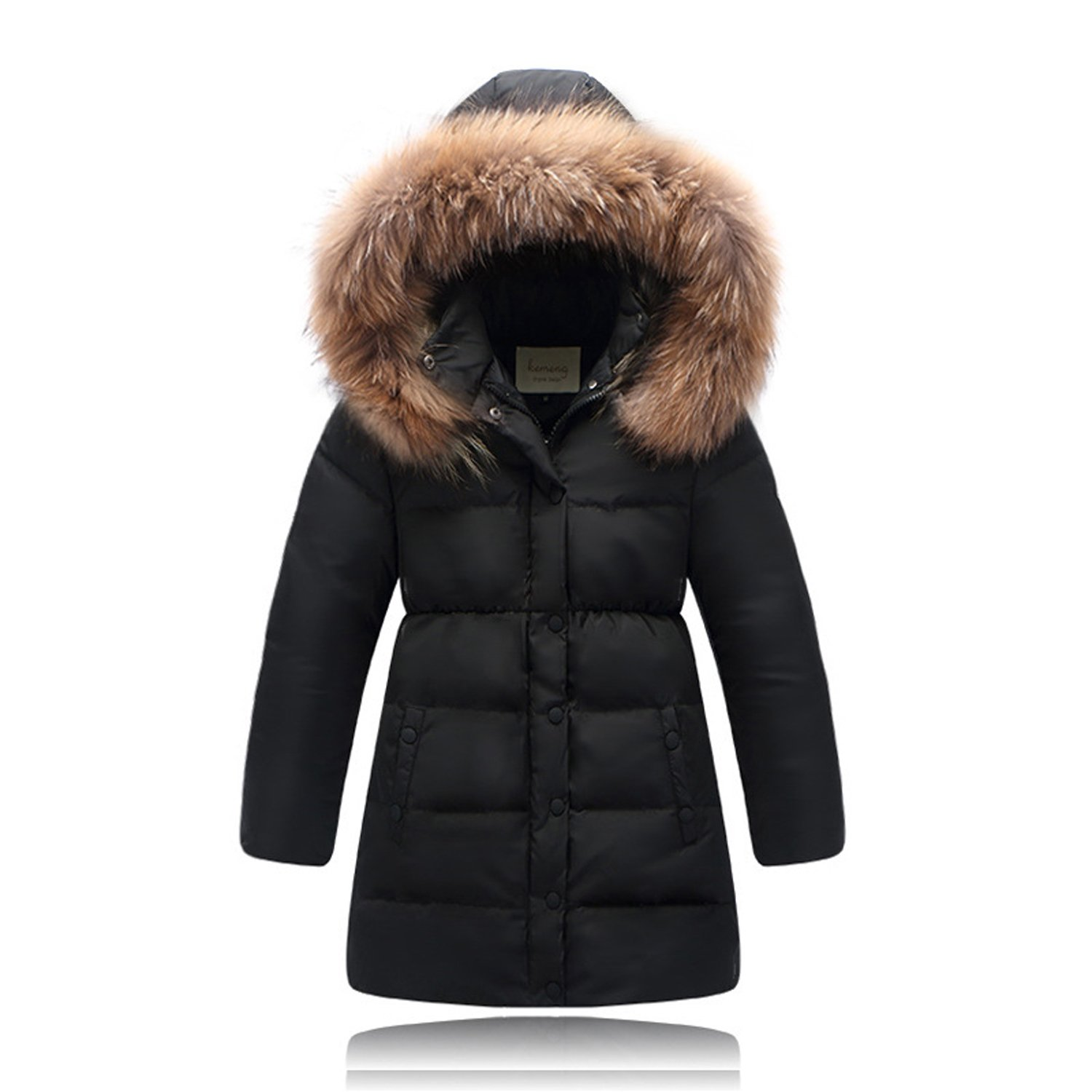 Seeduck Big Girls' Winter Parka Down Coat Puffer Jacket Padded Overcoat with Fur Hood (3/4T=110CM=43.3 Inch, Black)