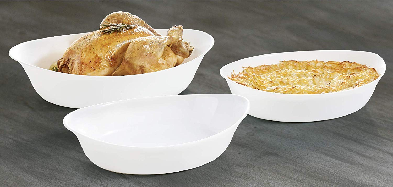 Luminarc- Baking-Serving Dishes Fine White Porcelain- Set of 3 Oval Shape   European Made   Extra Light and Resistant Oven Cookware