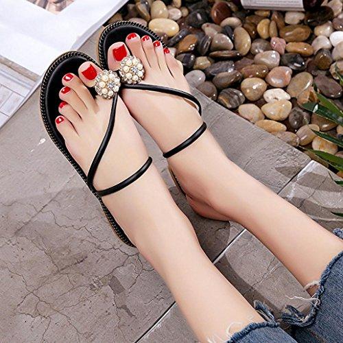 BZLine® Frauen Sommer Strass Schuhe Peep-Toe Low shoes Roman Sandalen Flip Flops Schwarz