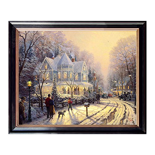 Winter is in the country Canvas Oil Painting Prints Gorgeous Natural Scenery Landscape with Frame for Wall Decoration,Easy to Hang,20x16 Inches