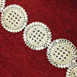 Decorative Border Lace Beaded Indian Trim Geometric Design Crafting Sewing Tape 3 Yd