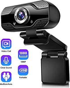 Toyuugo 1080P Full HD Webcam with Microphone, Monitor with Webcam, Laptop Desktop Camera Video Webcam 110-Degree Widescreen for Video Streaming, Conference, Gaming, Online Classes