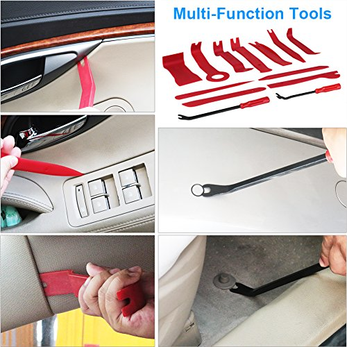 13Pcs Auto Trim and Panel Removal Tool Set Body Door Window Molding Upholstery Fastener Clips Removal Tool Kit with Storage Bag Strong Nylon Material -2 Fastener Removers Included VANJING (Red, 13Pcs) by VANJING (Image #2)