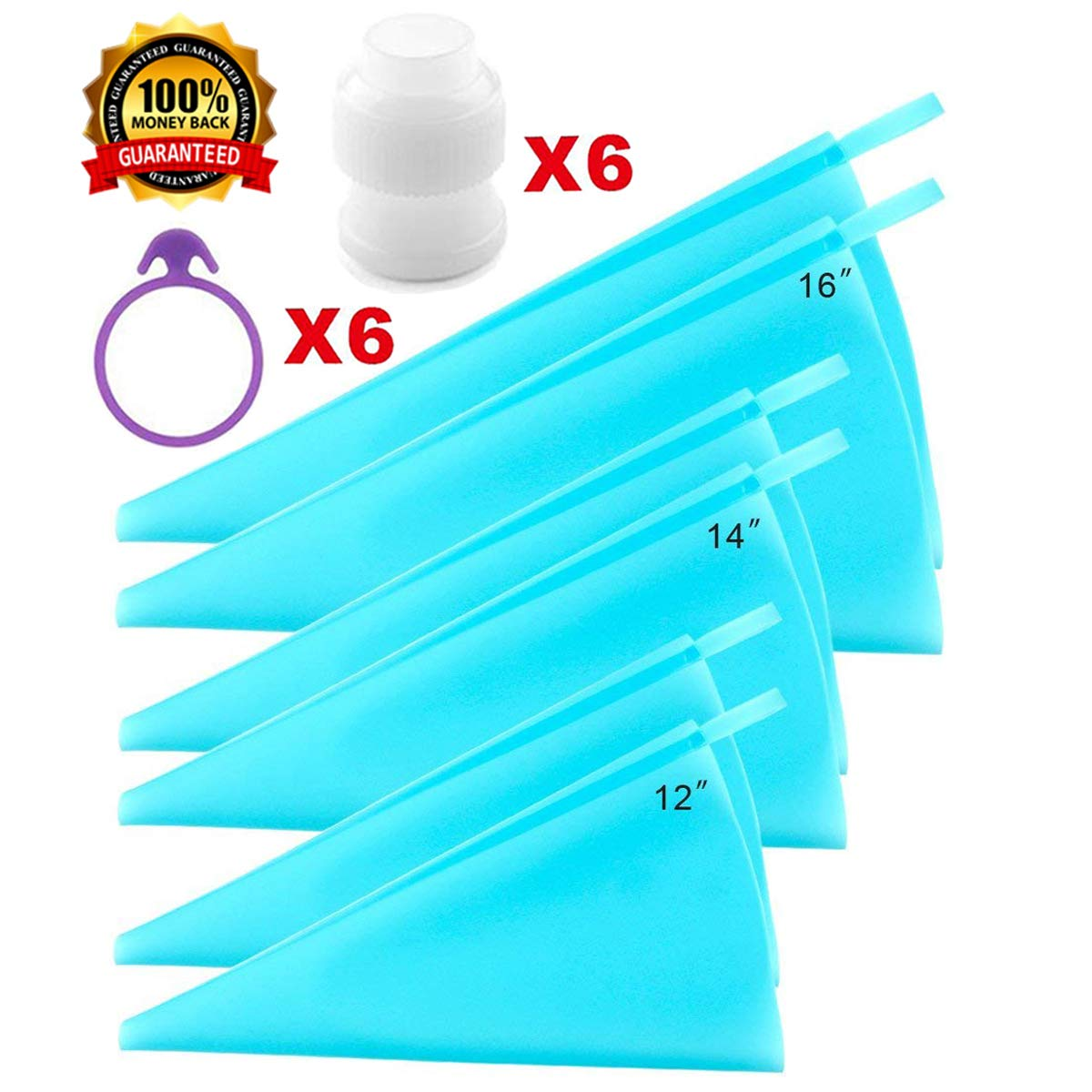 "Piping Bags, Icing Bags, Frosting Bags,3 Sizes Cake Decorating Bags Tips Tools(12"" +14""+16"")- 6 Pack, Silicone Piping Pastry Bags Bonus 6 Icing Couplers and 6 Icing Bags Ties Fit to Standard Size Tips LVGOOD"