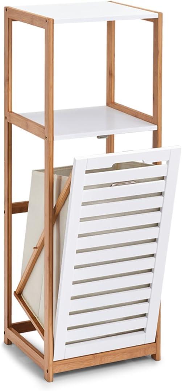 Estantería M. Colada, bambú/MDF, Color Blanco