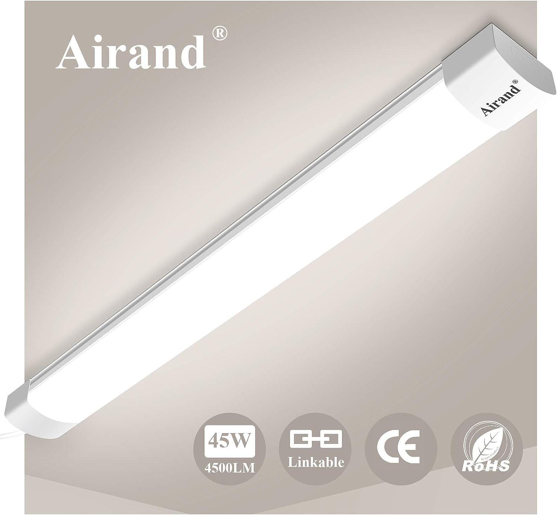 Airand Enlazables Tubos Led 150cm 45W 4500LM Fluorescente Led Lámparas de Taller IP66 Impermeable Luminaria Led Lampara para garaje,sotano,talleres,baño,oficina,cocina,armario: Amazon.es: Iluminación