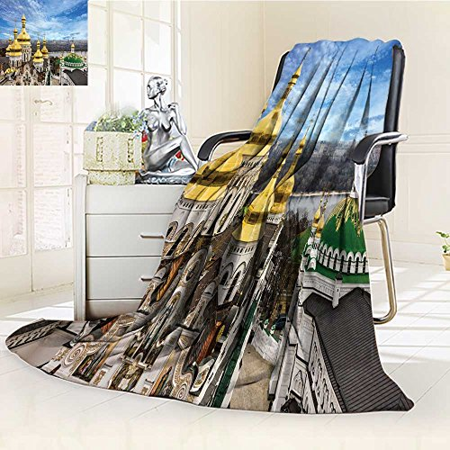 """Price comparison product image Decorative Throw Blanket Ultra-Plush Comfort kiev ukraine cupolas of pechersk lavra monastery and river dniepr panoramic cit Soft,  Colorful,  Oversized / Home,  Couch,  Outdoor,  Travel Use(60""""x 50"""")"""