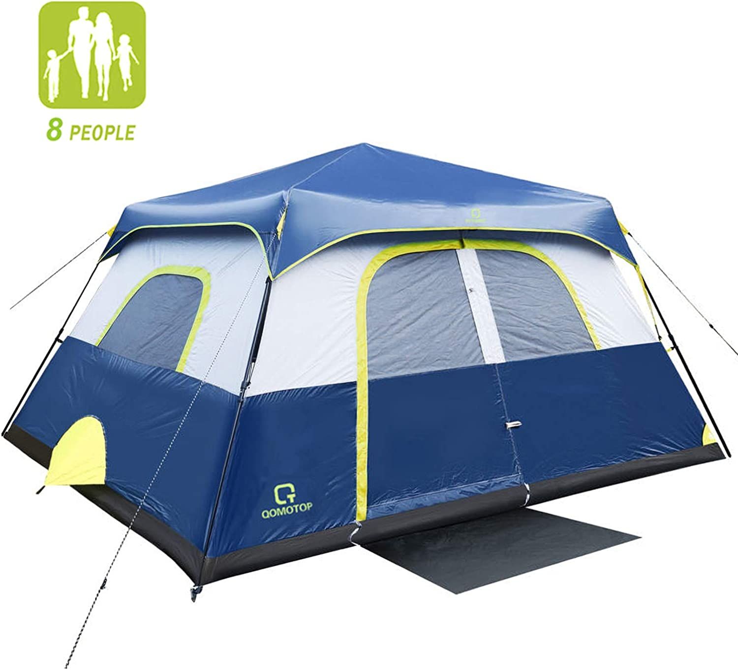 QOMOTOP Camping Tents, 4 6 8 10 Person Instant Set Up Within 1 Minute Tent Equipped with Rainfly and Carry Bag, Water-Proof Pop up Tent with Electric Cord Acess