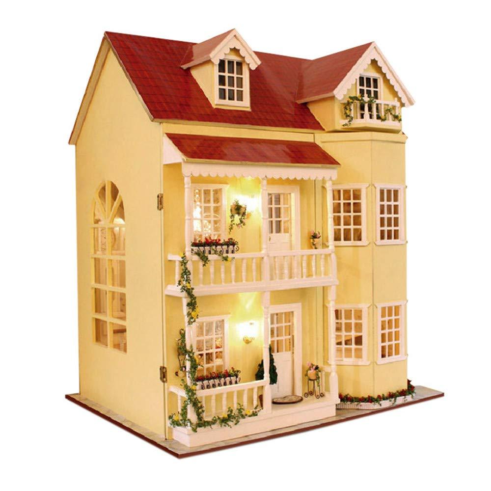 Casa de muñecas Casa de muñecas de madera de bricolaje en miniatura y juego de juguetes Villa grande y muebles / caja de música para los niños Regalo de cumpleaños del día de San Valentín para niñas