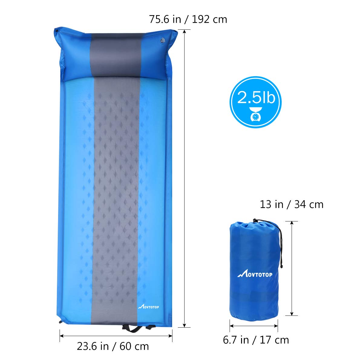 Blue Air Pump Included Comfortable Foam Camping Mat with Pillow Light Weight Camping Air Mattress for Hiking Backpacking Indoor Party MOVTOTOP Self Inflating Sleeping Pad
