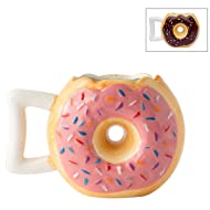 """Ceramic Donut Mug - Delicious Pink Glaze Doughnut with Sprinkles - Funny""""MMM. Donuts!"""" Quote - Best Cup For Coffee, Tea, Hot Chocolate and More - Large 14 oz - Funny Coffee Mug Gift"""