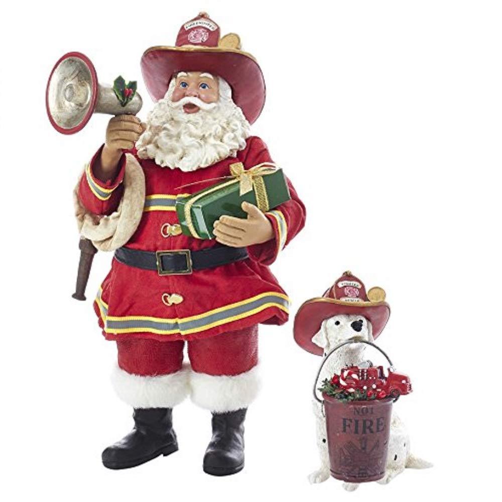 Kurt S. Adler 10.5'' Fireman Santa with Dalmatian Figure (Set of 2), 2 Piece