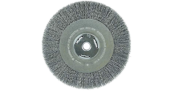 Wide Face 5//8 Arbor Hole Weiler 36206 Wolverine 8 Crimped Wire Wheel.014 Steel Fill