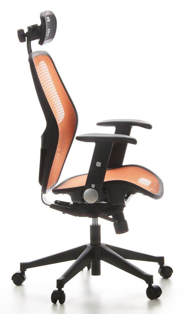 hjh OFFICE 653080 silla de oficina AIR-PORT tejido de malla naranja, apoyabrazos plegables, soporte lumbar, apoyacabezas, inclinable, sillón alta gama: ...