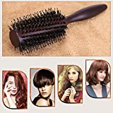 HOMEIDEAS Styling Professional Natural Boar Bristles Round Hairbrush Adding Hair Volume And Shine Barrel Hair Brush For Hair Blow Drying Styling Curling Large Round Handle 2 Inch