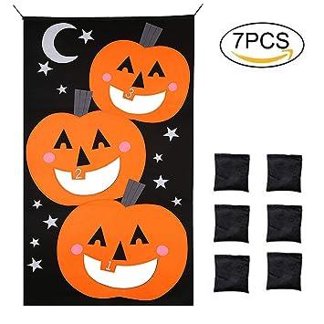 povkeever kurbis sitzsack wurfspiel 6 sitzsacke halloween spiele set kurbis banner spass wurfspiele party dekorationen