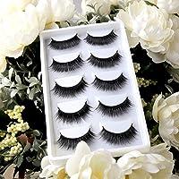 3D Faux Mink Eyelashes Volume Handmade Natural Lashes Fluffy False Eyelashes 5 Pairs Dramatic Looking (A605)