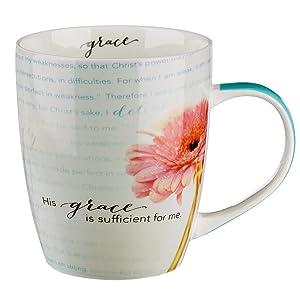 "Bible Verse Mug for Women & Men   Chrysanthemum Scripture Mug w/Pink Flowers – ""Sufficient Grace"" 2 Corinthians Mug 12: 9-10   Inspirational Coffee Cup & Christian Gift (12 oz Ceramic Cup)"