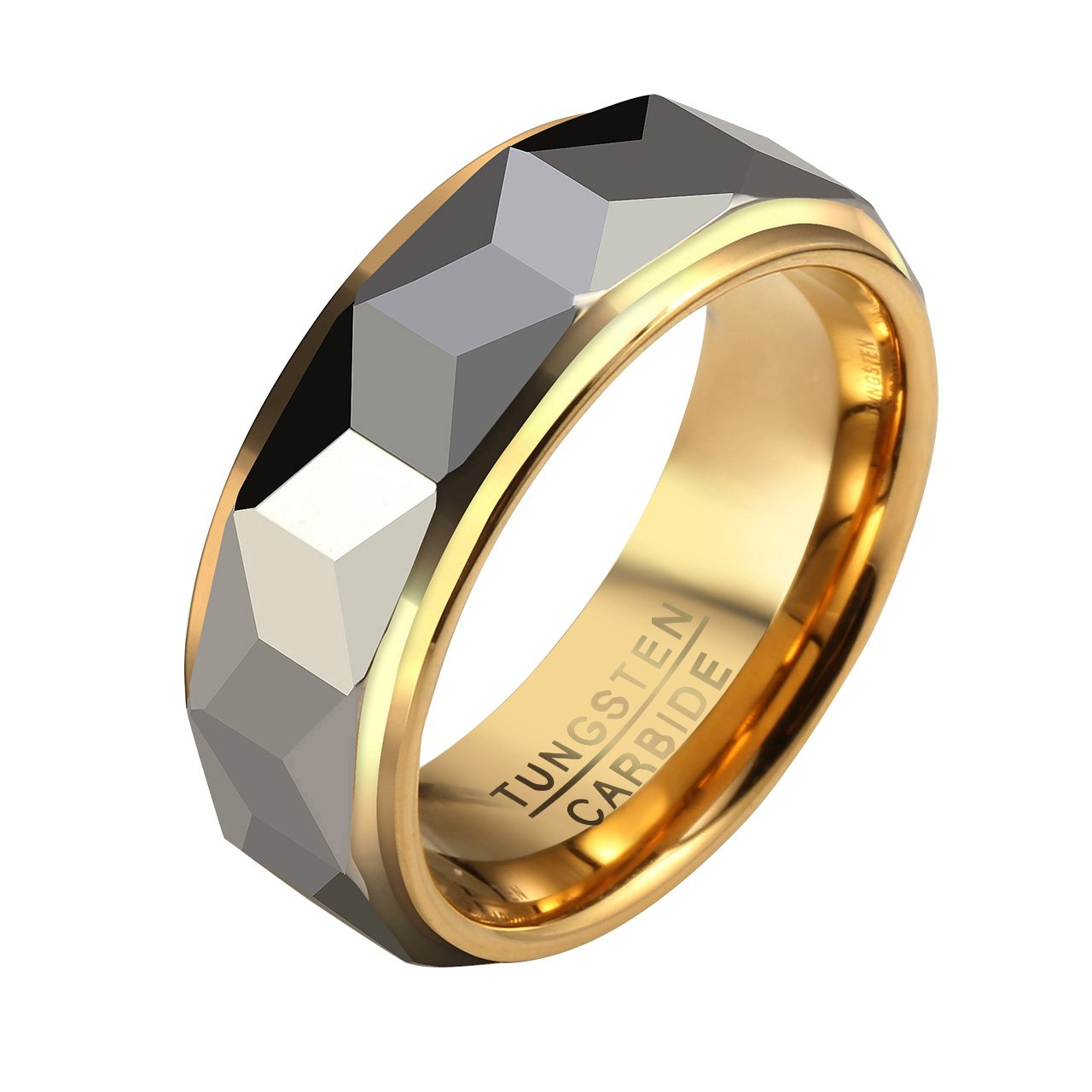 Zysta Elegant Polished Silver Gold Two Tone Multi Facet Tungsten Carbide Wedding Engagement Ring Size 11