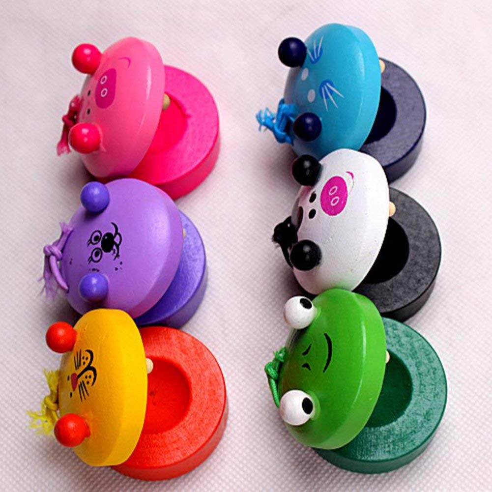 4.8 2.8CM High Quality Ogquaton 2Pcs Round Wooden Animal Castanet Toys Early Education Musical Instrument Toys Gift for Baby Kids 4.8