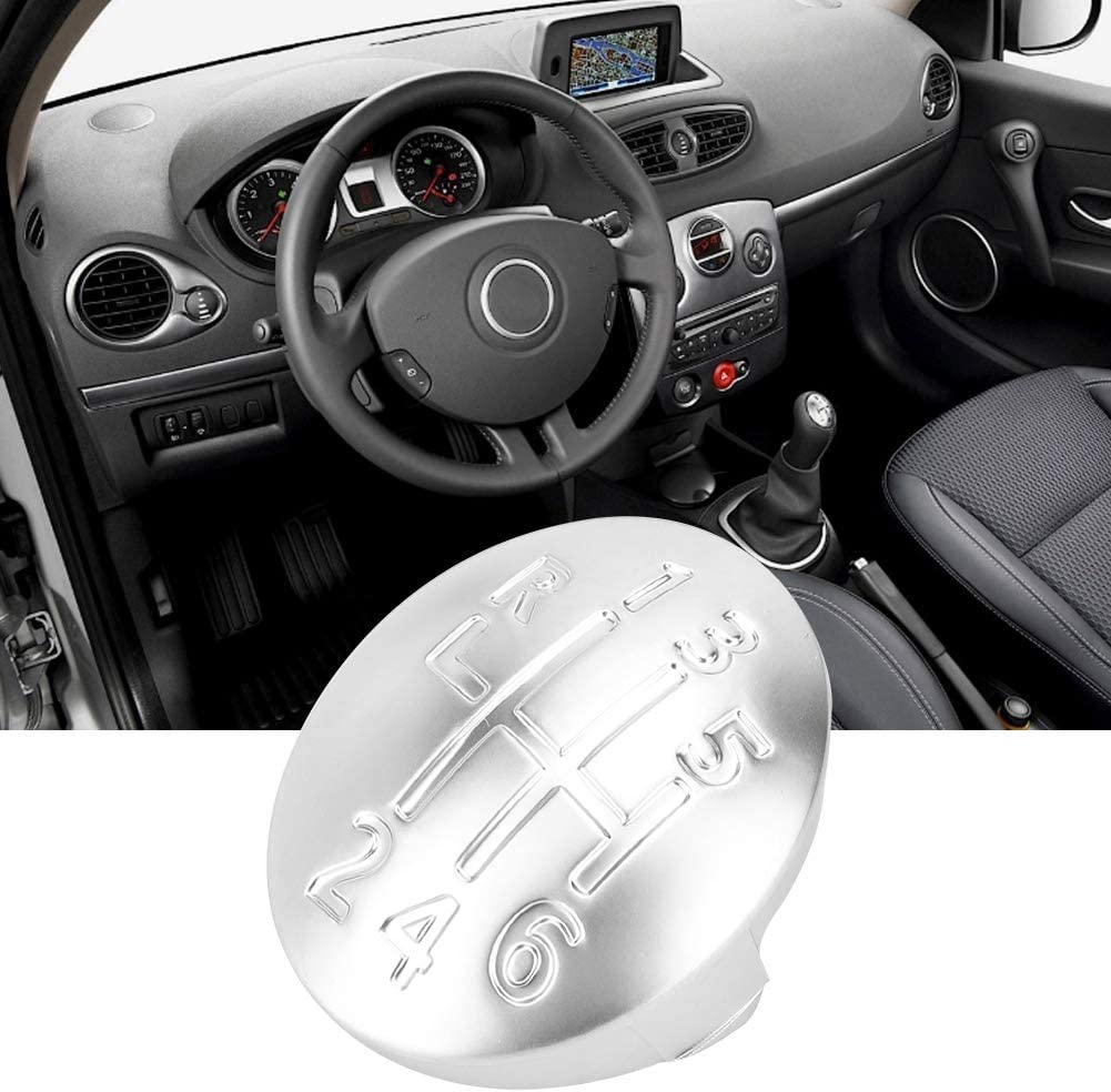 Gear Knob Cover Car Manual Gear Shift Knob Cap Cover 6 Speed Fit for CLIO SCENIC MEGANE II