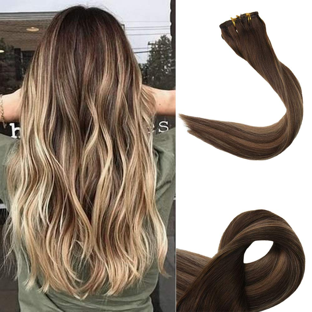 """Full Shine 20"""" 100% Human Clip In Hair Extensions 120 Gram Color #4 Medium Brown Fading to #27 and #14 Highlighted With Color #4 10Pcs Skin Weft Hair"""