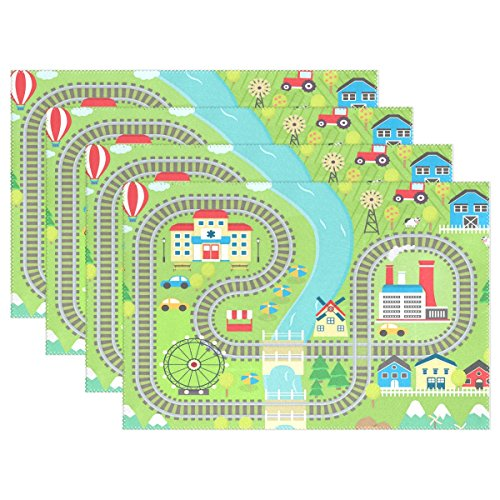 (WOZO Lovely City Train Track Placemat Table Mat 12
