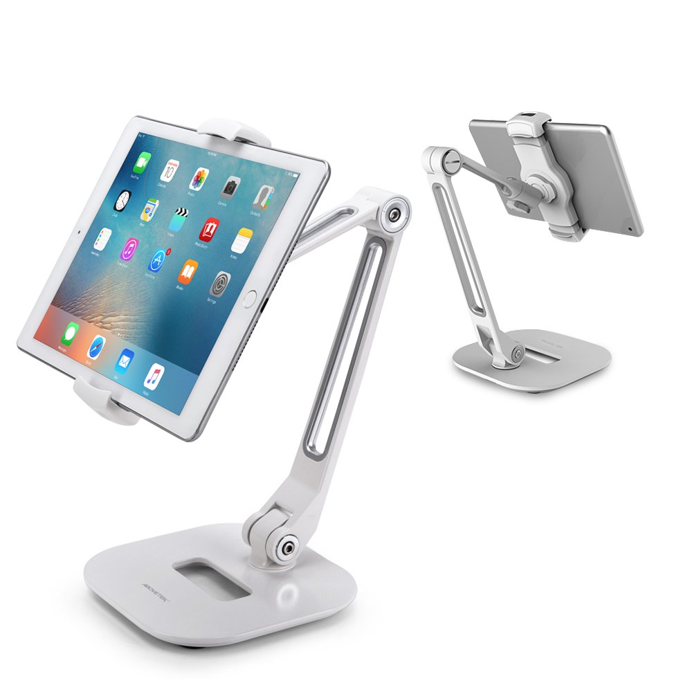 AboveTEK Long Arm Aluminum Tablet Stand, Folding Stand with 360° Swivel Phone Clamp Mount Holder, Fits 4-11 inch Display Tablet/Phones for Kitchen Table Bedside Office Desk POS Kiosk Reception TS-196B