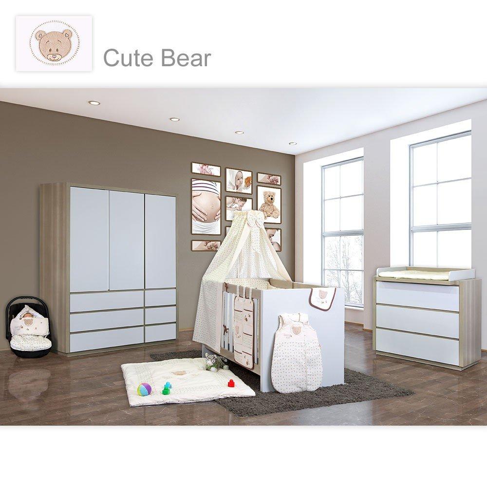 Babyzimmer Atlanta in Akaziengrau 10 tlg. mit 3 türigem Kl. von Cute Bear Beige