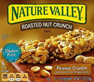 Nature Valley Gluten Free Roasted Nut Crunch Granola Bars, Peanut Crunch, 7.2 Ounce (Pack of 6)