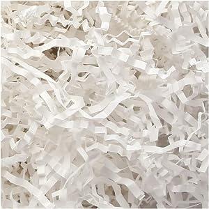 PACKHOME 1/2 LB Crinkle Cut Paper Shred Filler, White Shredded Paper for Gift Baskets, Crinkle Paper for Gift Wrapping