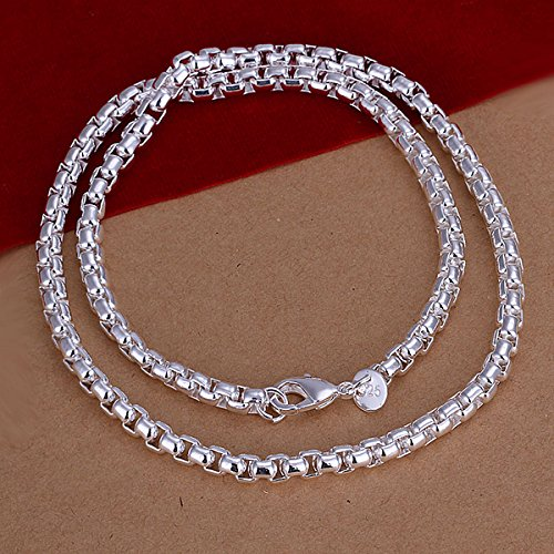Faux Hematite Necklace (Men's jewelry 6mm 20'' 50cm 925 sterling silver necklace cool chain n053)