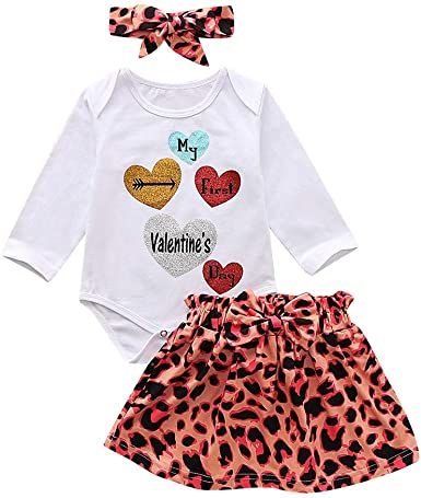 3Pcs Newborn Outfits Baby Girl Jumpsuit Love Pattern Skirt Headband Clothes Set