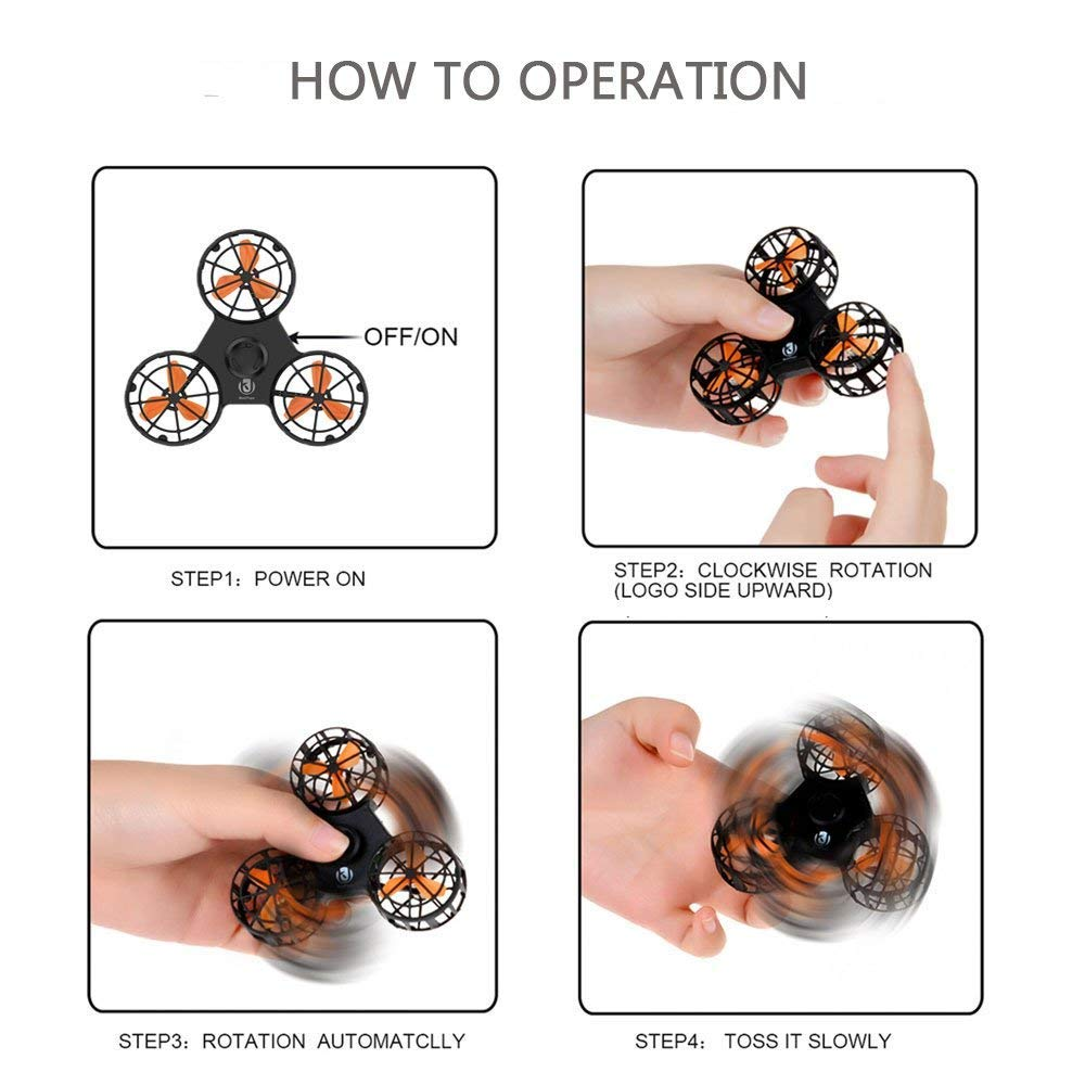 ROHSCE Novelty Tiny Flying Drone Toys, ADHD Relieving Reducer 4 Mode Playing Optional Fidget Rotation Triangle Toys Funny Drone Interactive Games for Kids Adults (Black) by ROHSCE (Image #6)