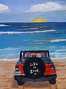 DIY 5D Diamond Painting Life is Good for Adults,Paint by Number Jeep On Beach,Art Craft Crystal Rhinestone Embroidery Home Wall Decor Gift