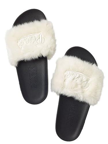 41c76012c8f43 Victoria's Secret Pink Faux Fur Criss Cross Slides