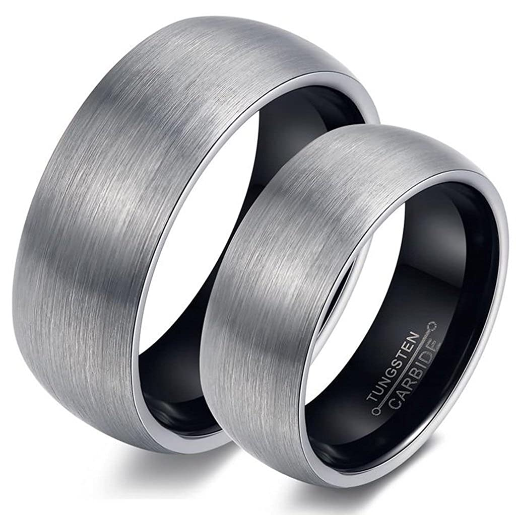 Amazon Bishilin 6mm Women Black Rings Tungsten Wedding Band Sets His And Hers Size 8 Jewelry: Tungsten Wedding Band Sets For Women At Websimilar.org