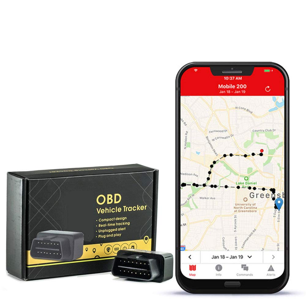 GPS Tracker with no Monthly fee, Realtime OBD GPS Tracker with 1 Year of Service Included - Low Profile Tracker by Logistimatics