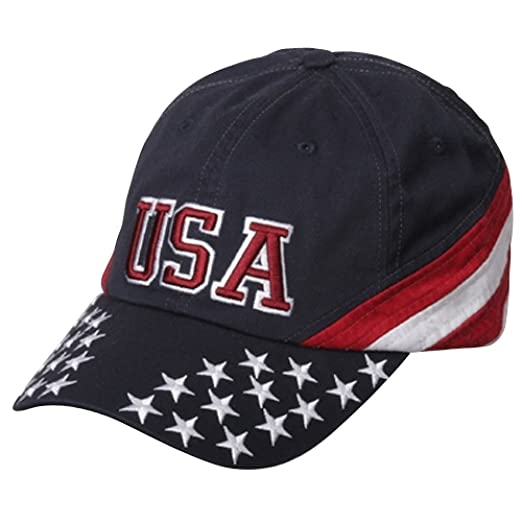 MG Patriotic Cap - Navy USA Star OSFM at Amazon Men s Clothing store  Baseball  Caps 481cb9260bb